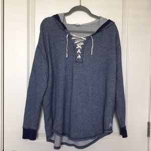 VICTORIA SECRET • Oversized Lace Up Front Hoodie